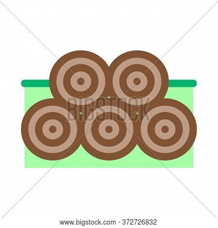 Tree Trunk Pile Icon Vector. Tree Trunk Pile Sign. Color Symbol Illustration