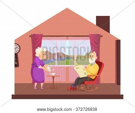Cozy Domestic Lifestyle. Elderly Couple Drink Tea, Cute Seniors Stay Home Concept. Cartoon Grandpare