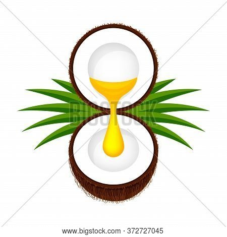 Coconut Half Cut And Oil Drop Yellow Gold Isolated On White, Coconut For Cooking Oil Concept