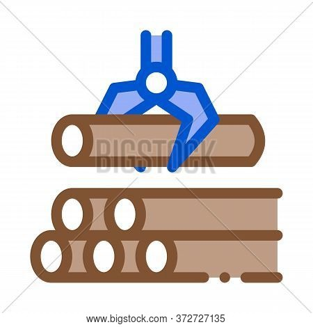 Loading Timber Wood Machine Icon Vector. Loading Timber Wood Machine Sign. Color Symbol Illustration