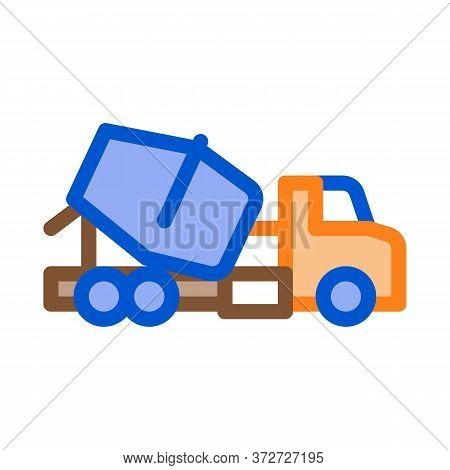 Concrete Mixer Truck Icon Vector. Concrete Mixer Truck Sign. Color Symbol Illustration