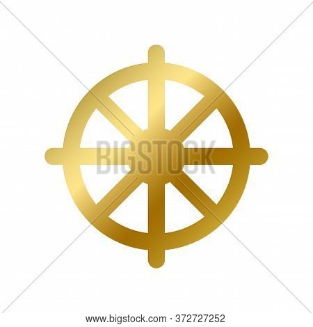 Dharma Chakra Symbol Isolated Buddhism Golden Sign