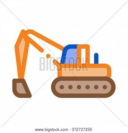 Road Repair Excavator Icon Vector. Road Repair Excavator Sign. Color Symbol Illustration