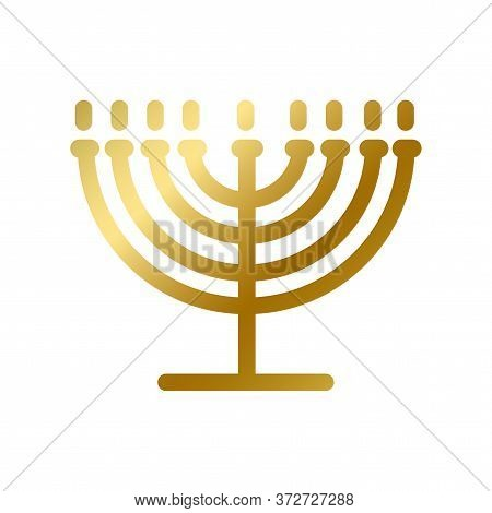 Menorah Symbol Isolated Gold Judaism Religion Sign