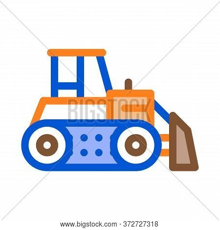 Road Repair Bulldozer Icon Vector. Road Repair Bulldozer Sign. Color Symbol Illustration
