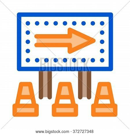 Road Mark Show Direction Icon Vector. Road Mark Show Direction Sign. Color Symbol Illustration