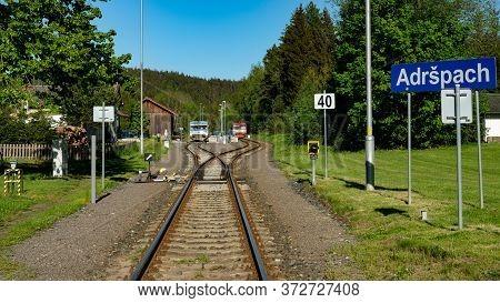 Adrspach, Czech Republic - June 01, 2020: Blue And Red Czech Railway Trains (class 810) At Adspach R
