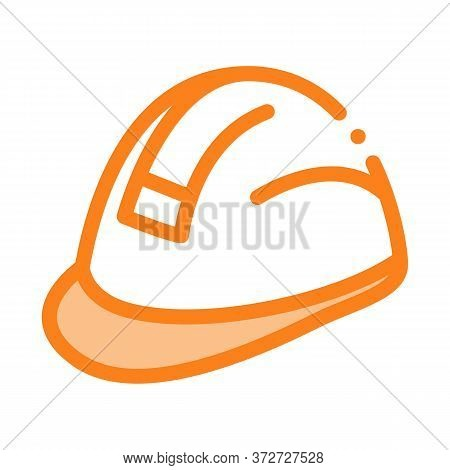 Builder Heavy Helmet Icon Vector. Builder Heavy Helmet Sign. Color Symbol Illustration