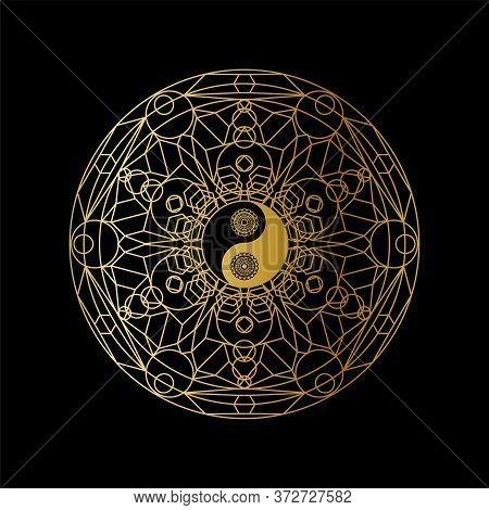Meditation Template With Yin Yang Sign In Mandala