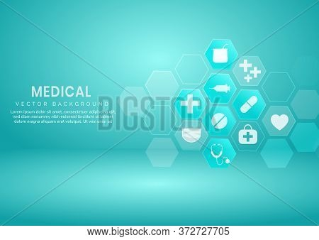 Abstract Blue Hexagon Pattern Background.medical And Science Concept And Health Care Icon Pattern. Y