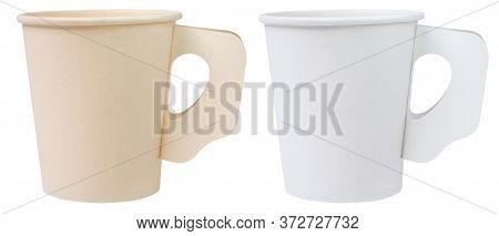 Two Empty Paper Coffee Cups On White Background Coffee Cup Mockup Template Old And New Cup On Isolat