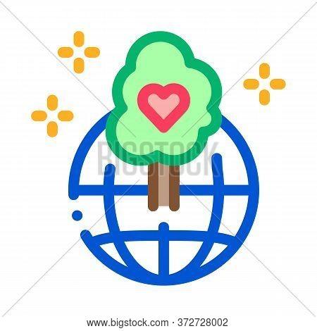Wordwide Forestry Safe Icon Vector. Wordwide Forestry Safe Sign. Color Symbol Illustration