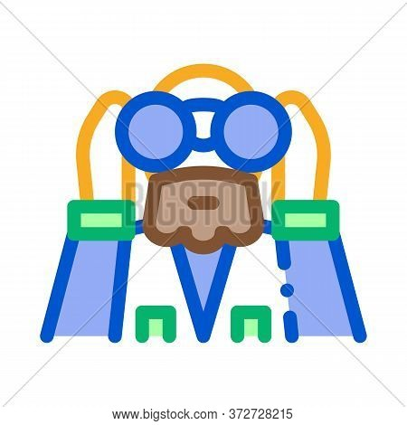 Forester Looking Binoculars Icon Vector. Forester Looking Binoculars Sign. Color Symbol Illustration
