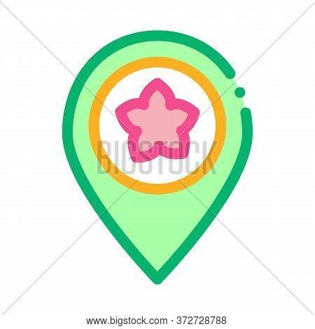 Flower Shop Location Gps Mark Icon Vector. Flower Shop Location Gps Mark Sign. Color Symbol Illustra