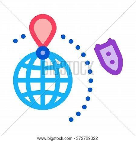 Rocket Fly Around World Icon Vector. Rocket Fly Around World Sign. Color Symbol Illustration
