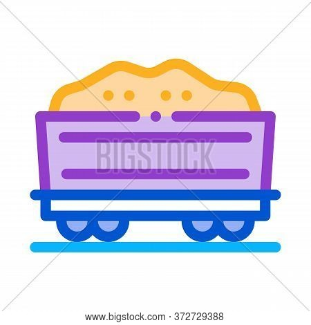 Railway Carriage Sand Transportation Icon Vector. Railway Carriage Sand Transportation Sign. Color S