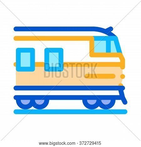 Suburban Electric Train Icon Vector. Suburban Electric Train Sign. Color Symbol Illustration
