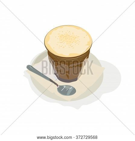 Vector Stock Illustration Of A Caramel Latte. A Cup Of Fragrant Coffee. Foam Of Whipped Cream With A