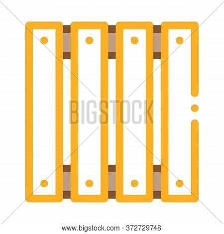 Wooden Fence Icon Vector. Wooden Fence Sign. Color Symbol Illustration
