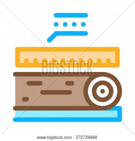 Wood Trunk Size Icon Vector. Wood Trunk Size Sign. Color Symbol Illustration