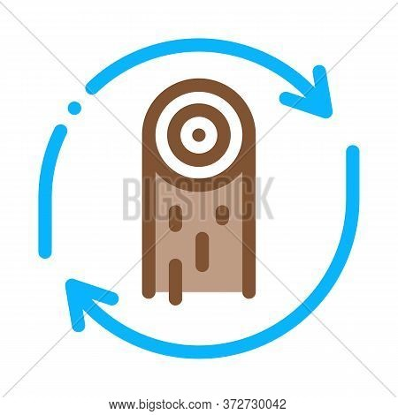 Wood Material Cicle Icon Vector. Wood Material Cicle Sign. Color Symbol Illustration