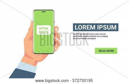 Human Hand Holding Smartphone Digital Detox Mode Concept Abandoning Internet And Social Networks Hor