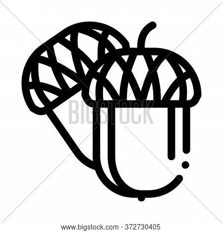 Acorn Nut Icon Vector. Acorn Nut Sign. Isolated Contour Symbol Illustration