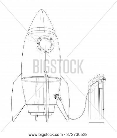 Electric Rocket Charging Station Sketch. Vector Rendering Of 3d. Wire-frame Style. The Layers Of Vis