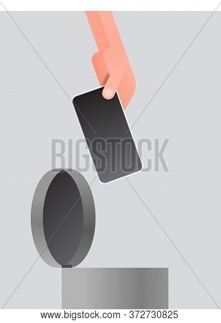 Human Hand Throwing Away Smartphone In Urn Digital Detox Rest From Devices Concept Abandoning Intern