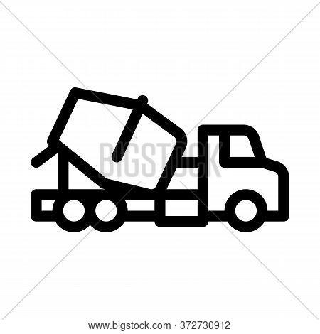 Concrete Mixer Truck Icon Vector. Concrete Mixer Truck Sign. Isolated Contour Symbol Illustration