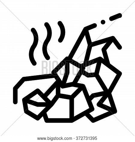 Mountain Collapse Icon Vector. Mountain Collapse Sign. Isolated Contour Symbol Illustration