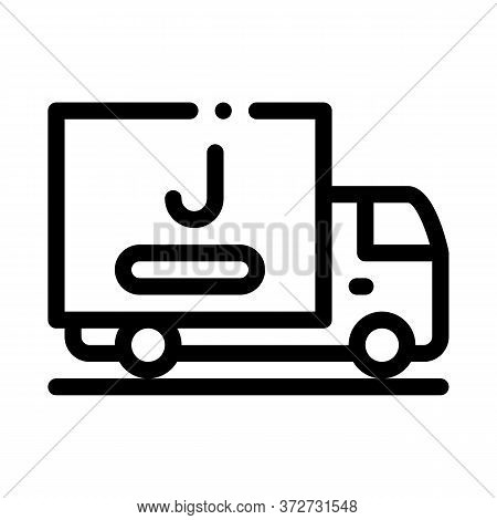 Juice Delivering Truck Icon Vector. Juice Delivering Truck Sign. Isolated Contour Symbol Illustratio
