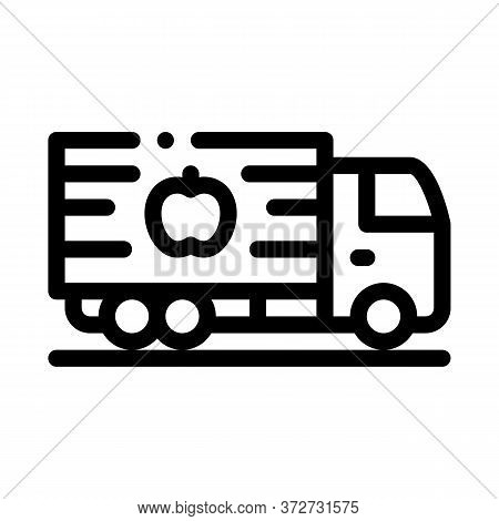 Fruit Delivering Cargo Icon Vector. Fruit Delivering Cargo Sign. Isolated Contour Symbol Illustratio