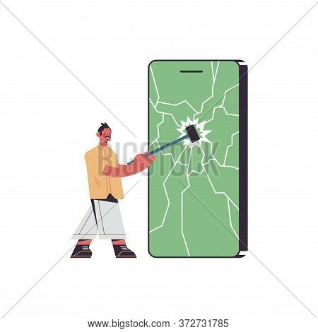 Man Hitting Smartphone Screen With Hammer Digital Detox Rest From Devices Concept Guy Abandoning Int