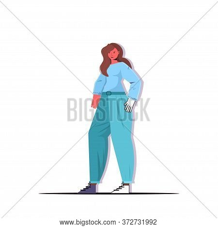 Model Fashion Woman Posing In Casual Trendy Clothes Female Cartoon Character Standing Pose Full Leng