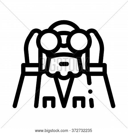 Forester Looking Binoculars Icon Vector. Forester Looking Binoculars Sign. Isolated Contour Symbol I