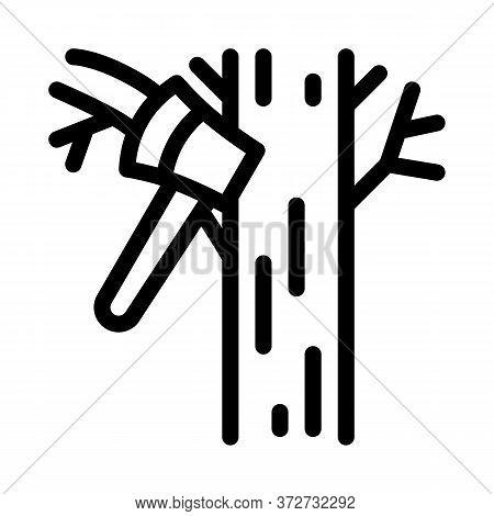 Tree Ax Icon Vector. Tree Ax Sign. Isolated Contour Symbol Illustration