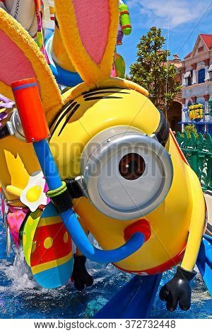 Osaka, Japan - June 17, 2020 : Statue Of Happy Minion Easter Version In Universal Studios Japan.mini