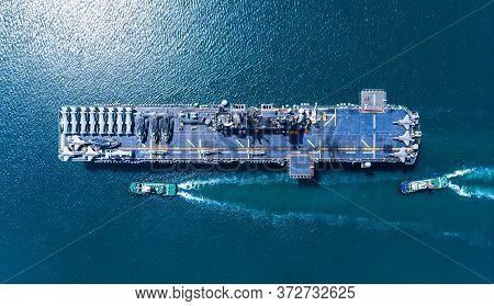 Nuclear Ship, Military Navy Ship Carrier Full Loading Fighter Jet Aircraft And Helicopter Patrol.