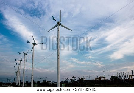 Chon Buri, Thailand - 24 April 2020. Wind Turbines Provide Electric Power. In The Electricity Genera