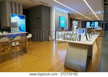 SHENZHEN, CHINA - CIRCA APRIL, 2019: interior shot of China International Consumer Electronics Exchange/Exhibition Center (CEEC) at UpperHill in Shenzhen.