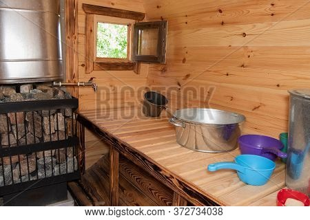 Sauna, Bath With Different Ladles For Watering The Body, An Aluminum Basin, A Tank With Hot Water