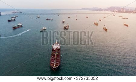 Aerial View Of  Gas Ship Lpg Ship At Pumping Port In The Sea.