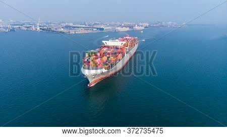 Cargo Container Ship Running Near In The International Terminal Cargo Yard Port Import Export Dealer