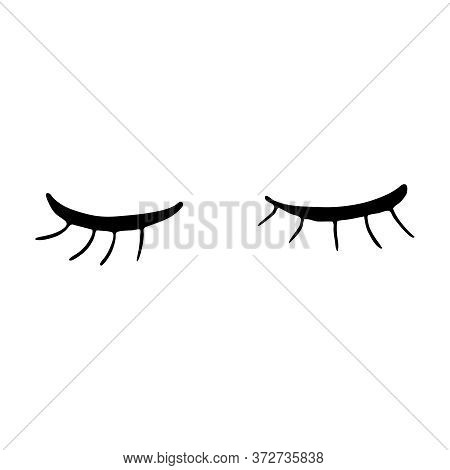 Closed Eyes With Long Eyelashes. Cute Contour Outline Vector Illustration. Beauty Product. Silhouett