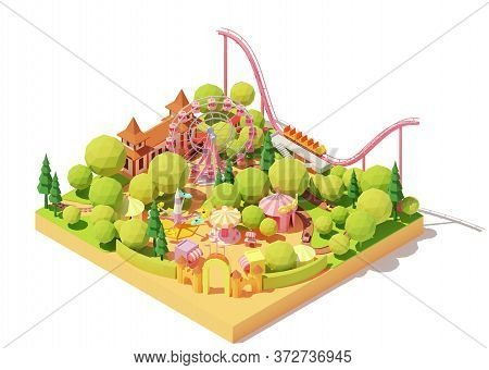 Vector Isometric Amusement Park Map. Theme Park With Ferris Wheel, Roller Coaster, Carousels, Bumper
