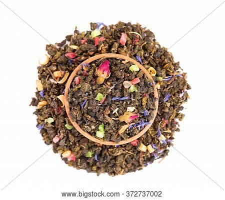 Tie Guan Yin Tea With Rose Buds, Candied Fruit, Cornflower Petals, Isolated On White Background. Org