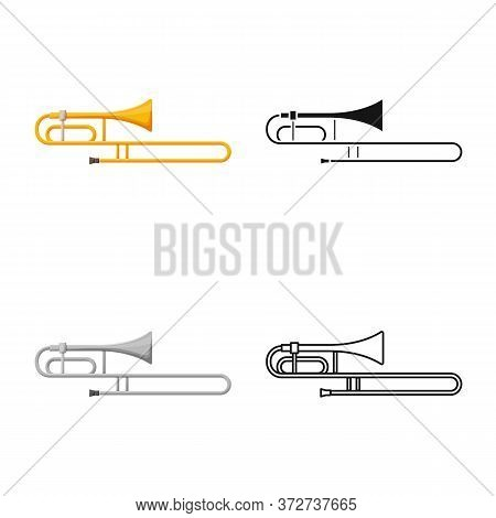 Vector Illustration Of Cornet And Pipe Sign. Web Element Of Cornet And Tuba Vector Icon For Stock.