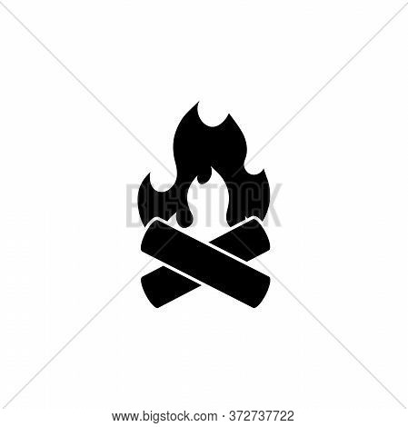 Bonfire, Camp Flame, Campfire, Firewood. Flat Vector Icon Illustration. Simple Black Symbol On White
