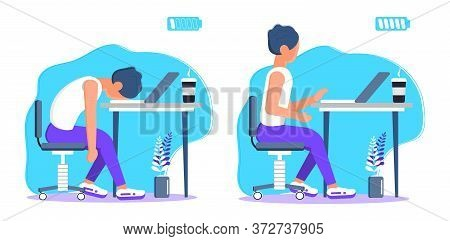 Burnout In Professional Life, Emotional Collapse Concept Vector. Tired Frustrated Freelancer Is Sitt